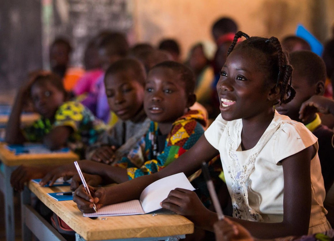 On December 3, 2019, Nabyla (name changed), 13, attends class in at a UNICEF-supported school in Kaya, Burkina Faso, where her family found refuge after being displaced.