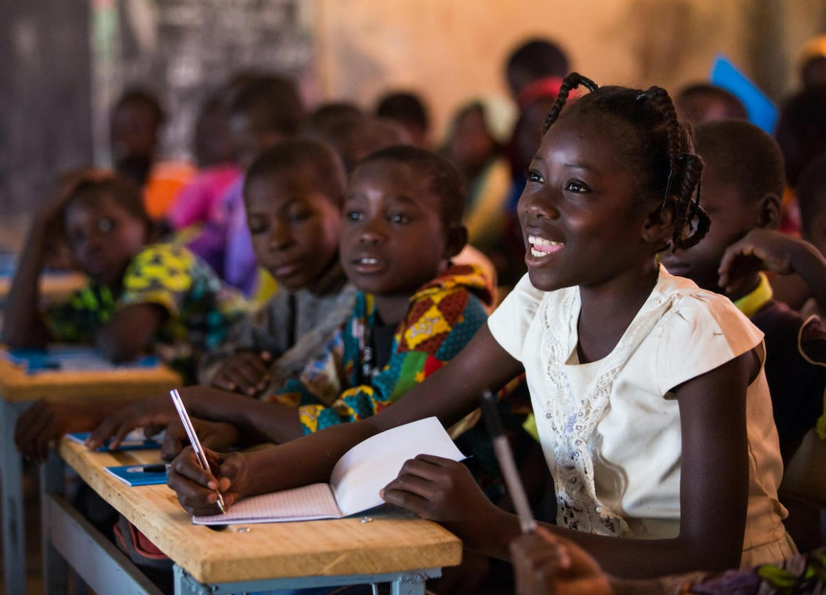 A 13-year-old girl attends class in Kaya, Burkina Faso.