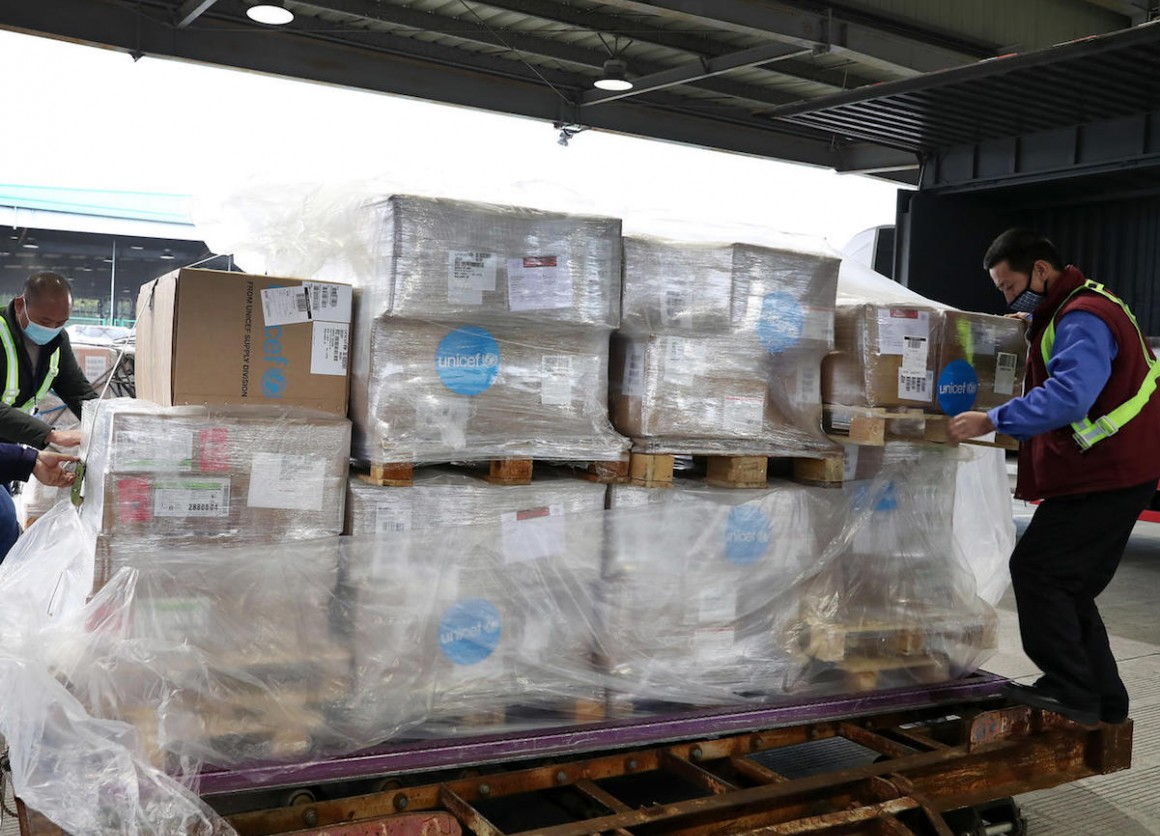 On January 29, 2020, a UNICEF shipment of personal protective equipment arrived in Shanghai to support response to the novel coronavirus.