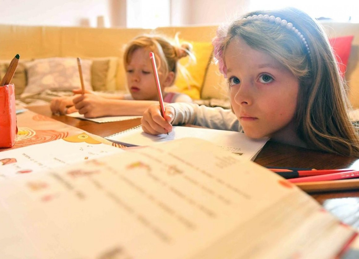 Ana and Kaja, 7-year-old twins from North Macedonia, have been learning at home since the government temporarily closed all schools in response to the spread of COVID-19.