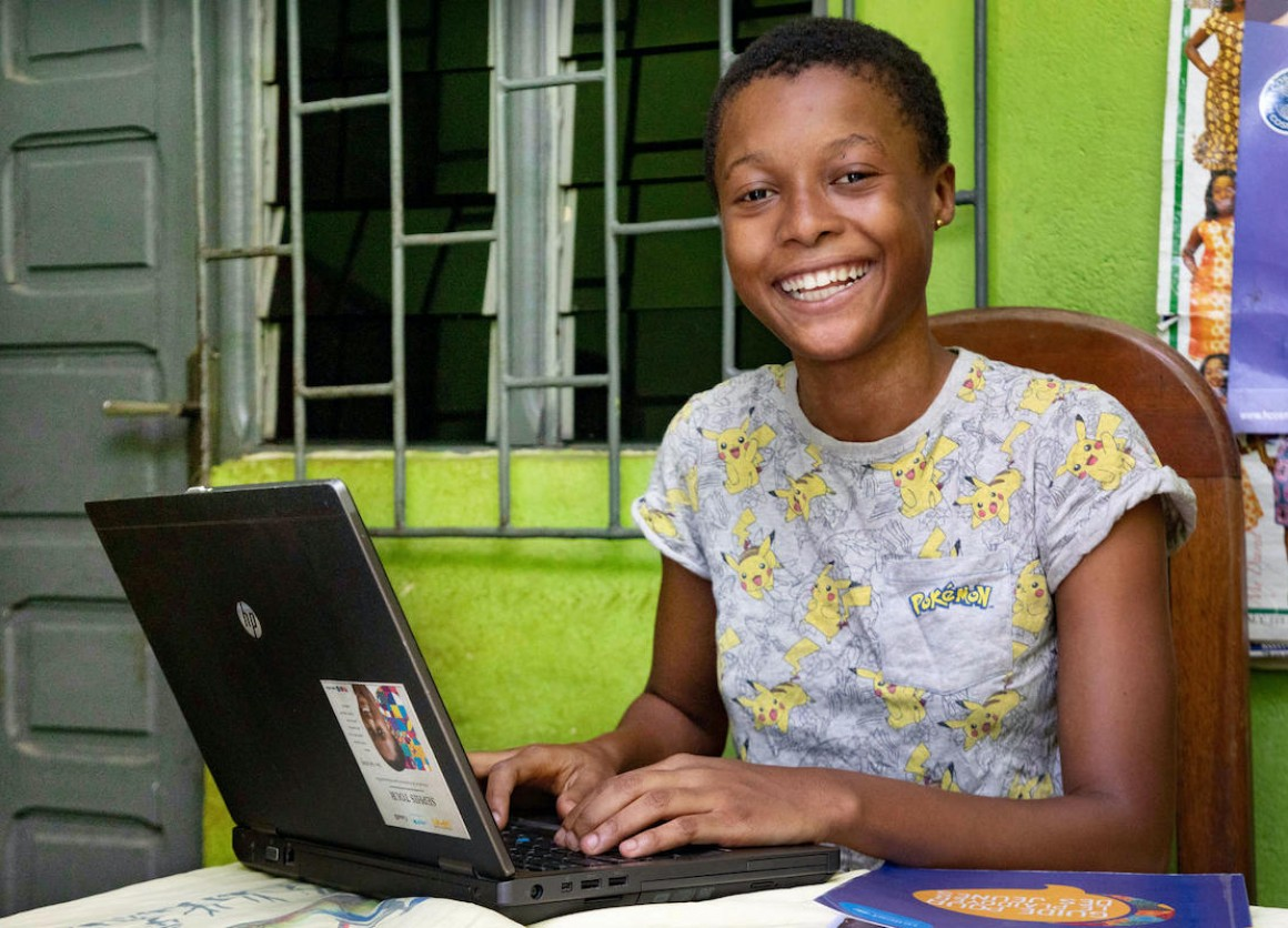 With an internet connection at home in Yopougon, a suburb of Abidjan, Côte d'Ivoire, Tchétché, 16, is able to participate in women's leadership training online during the COVID-19 pandemic.
