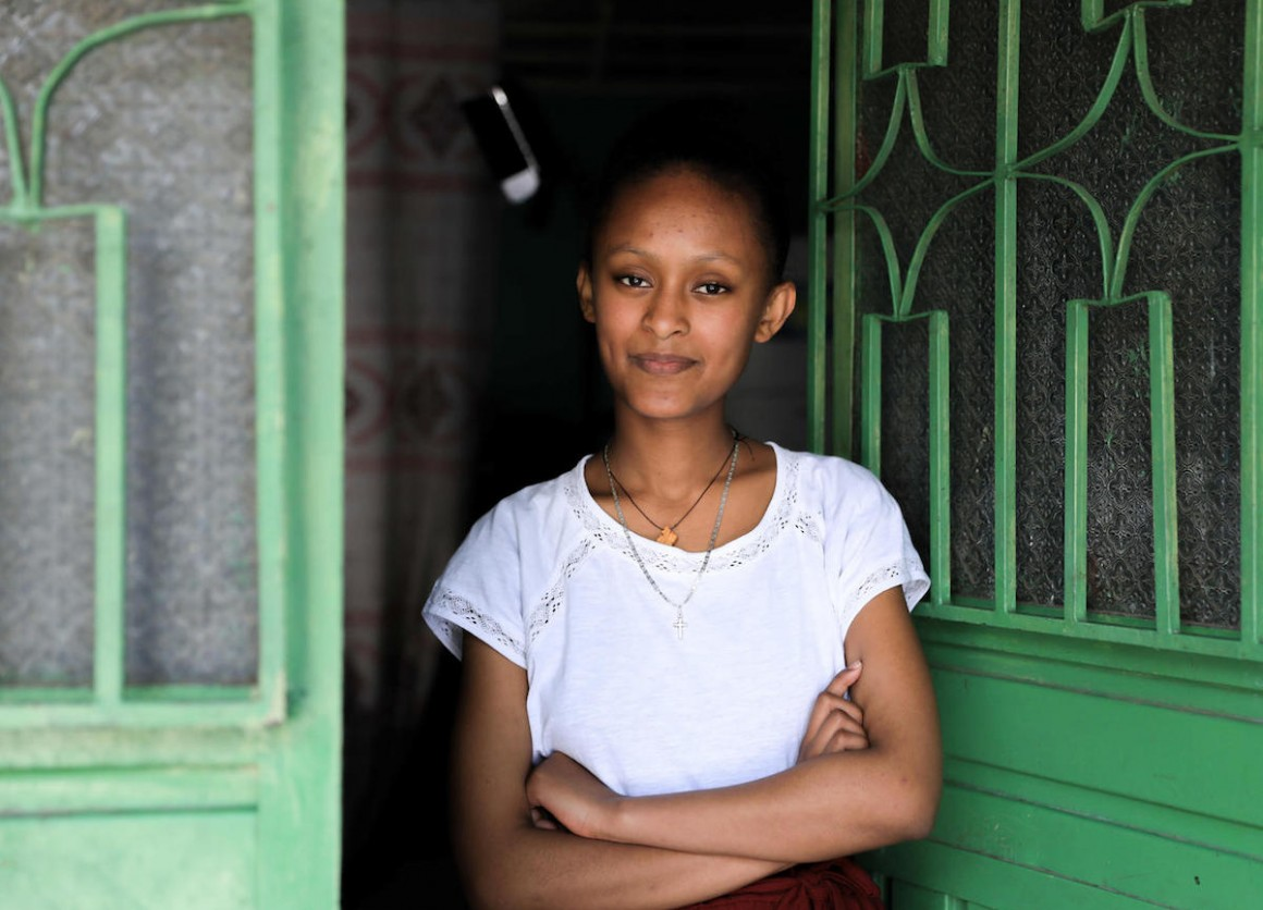 In Addis Ababa, Ethiopia, Sihinemariam and her siblings are continuing their educations from home during the COVID-19 pandemic, using UNICEF-supported TV and radio lessons.