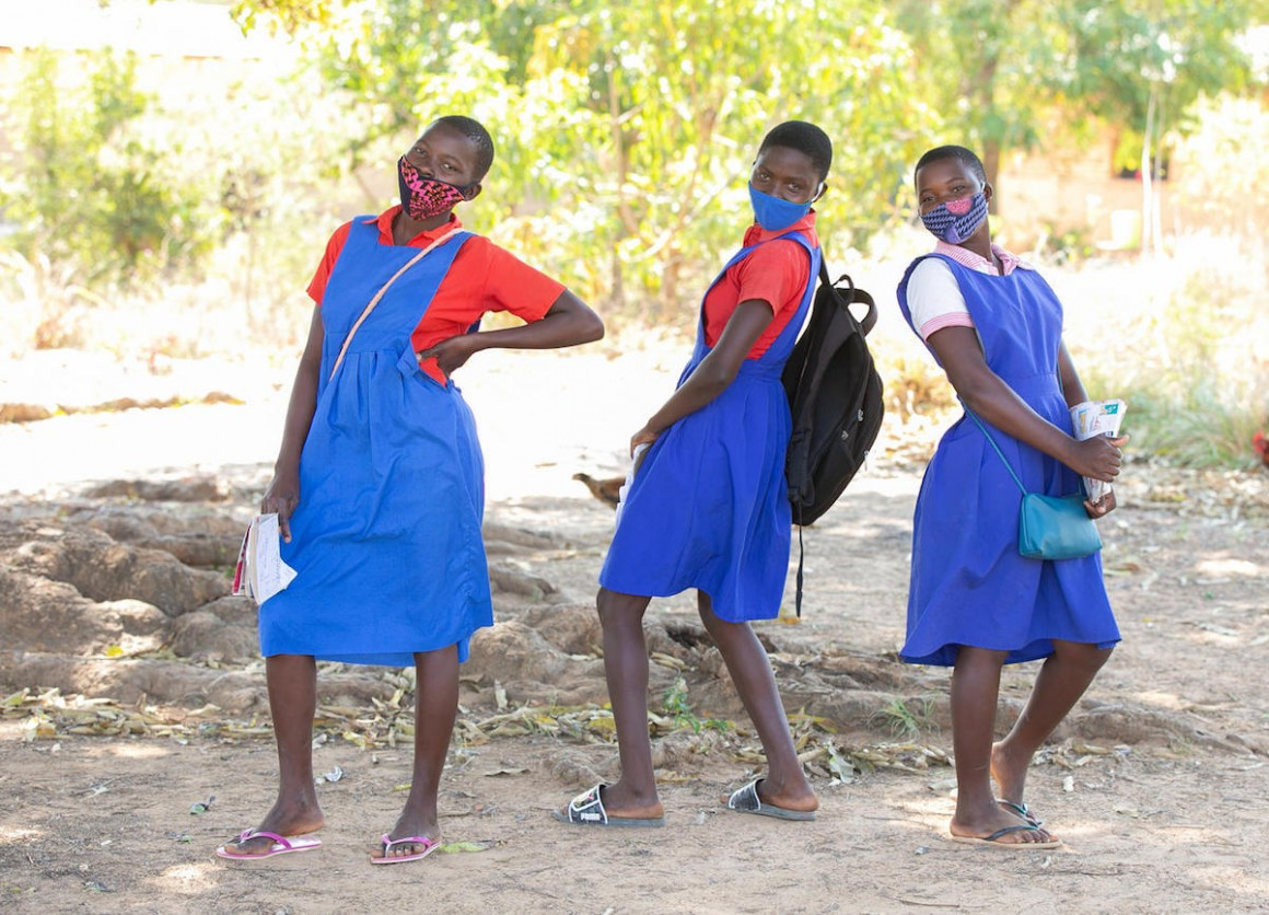 Students take a break outside the UNICEF-supported Luwambaza primary school in Nkhatabay district, northern Malawi in 2020.