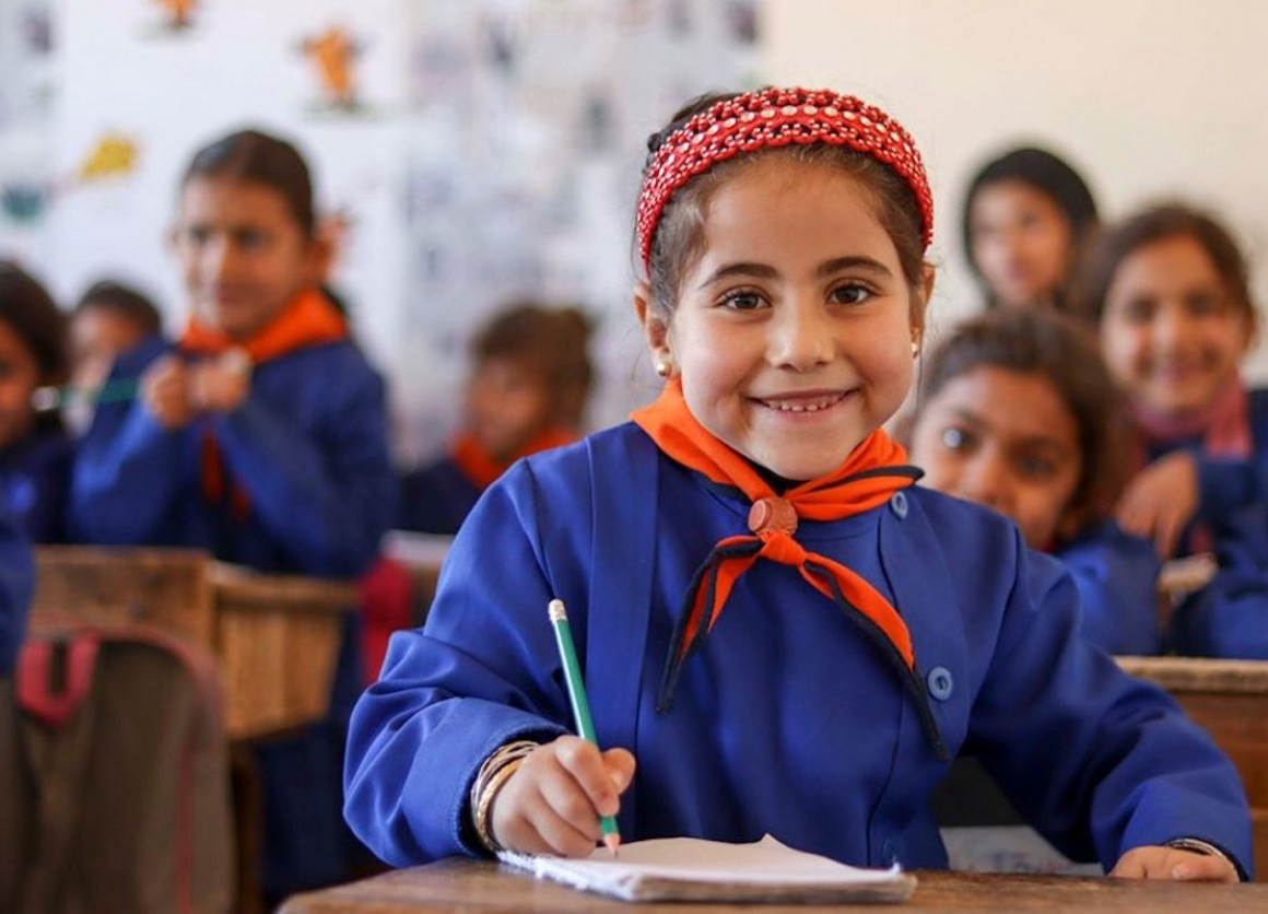 Catherine, 6, was able to start school in Maskana, eastern rural Aleppo, thanks to support from UNICEF and partner Educate A Child.