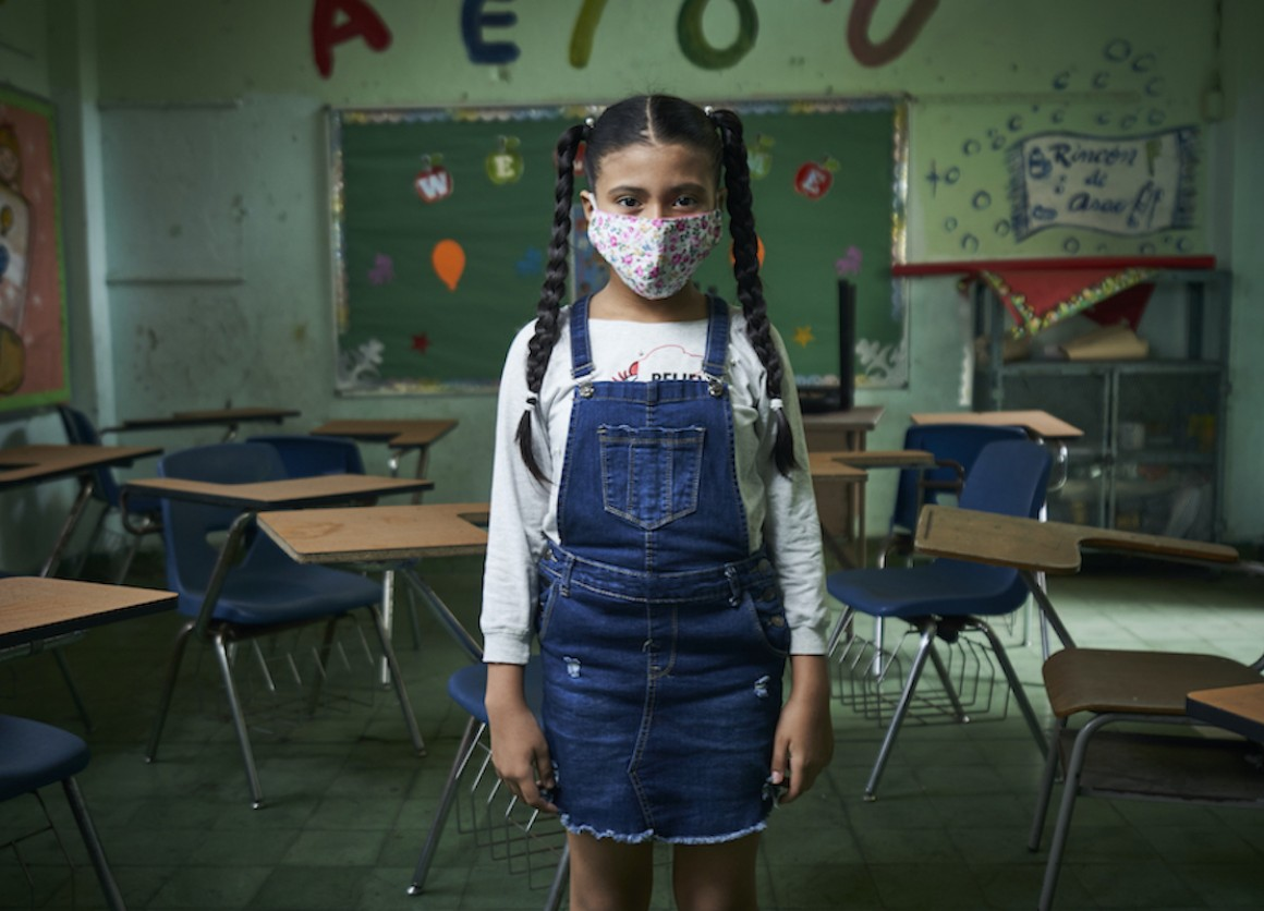 A student photographed in an empty classroom in Panama City, Panama, on Sept. 16, 2020.