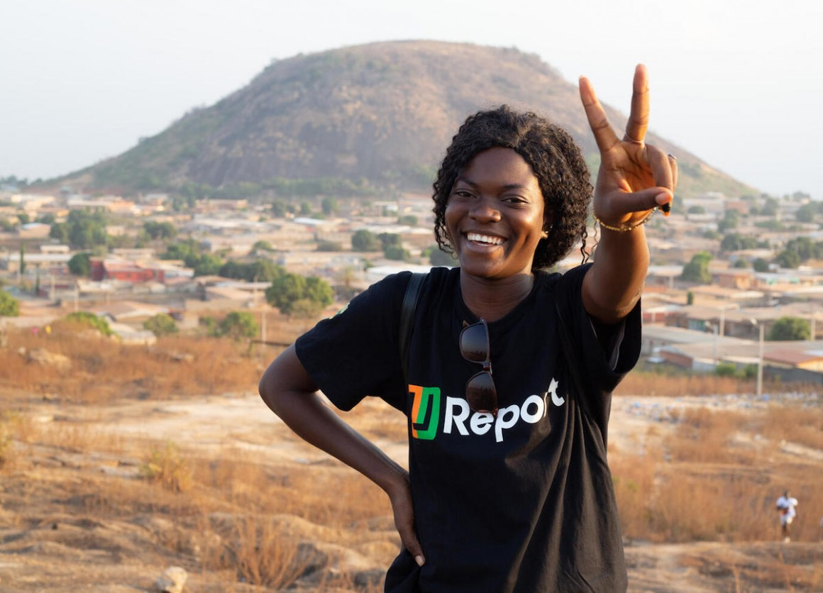 A UNICEF-supported U-Reporter in Korhogo, Côte d'Ivoire. Côte d'Ivoire is the 35th country to join the U-Report movement for encouraging community engagement and information sharing.