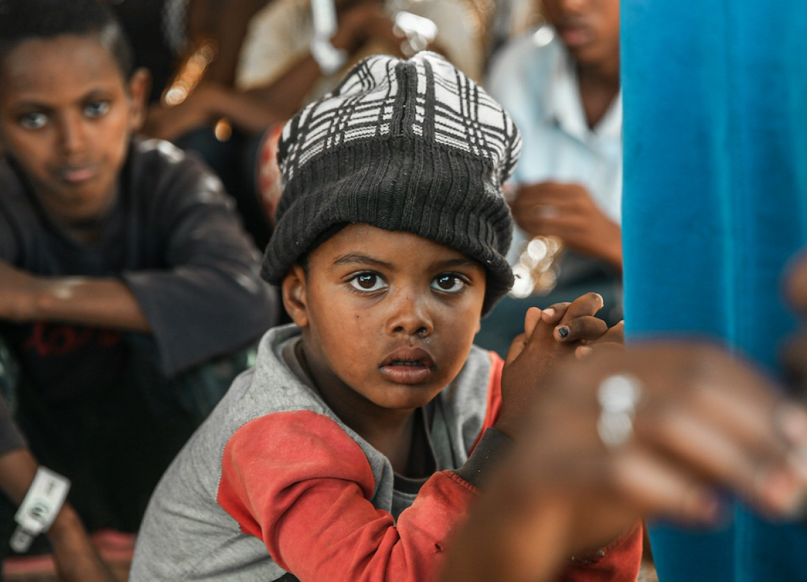 One of tens of thousands of children from Ethiopia's Tigray region who have crossed the border into Sudan, fleeing violence, since early November 2020..