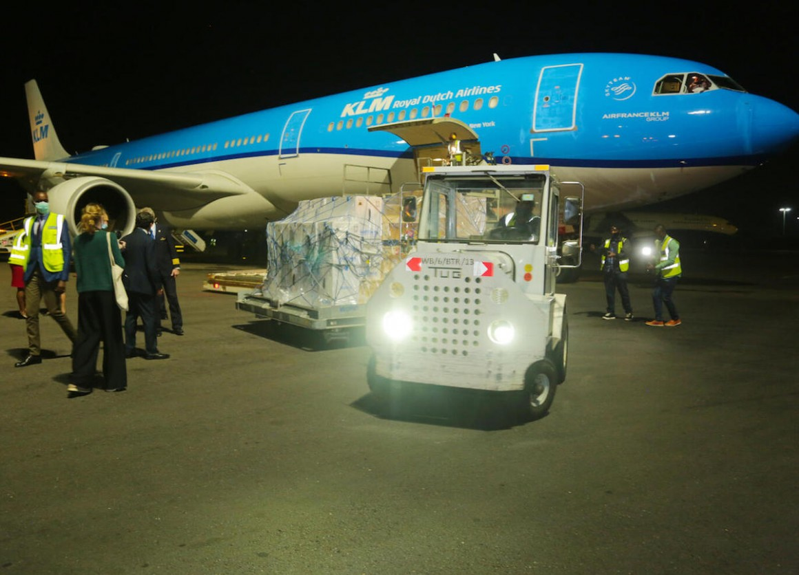 On 3 March 2021, 102,000 Pfizer-BioNTech mRNA COVID-19 vaccines are unloaded in Rwanda, the first African country to receive the Pfizer vaccines through COVAX.