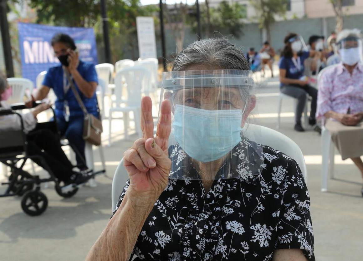 Older adults started to receive COVID-19 vaccines at a vaccination site in the district of San Martín de Porres in Lima, Peru on March 24, 2021.