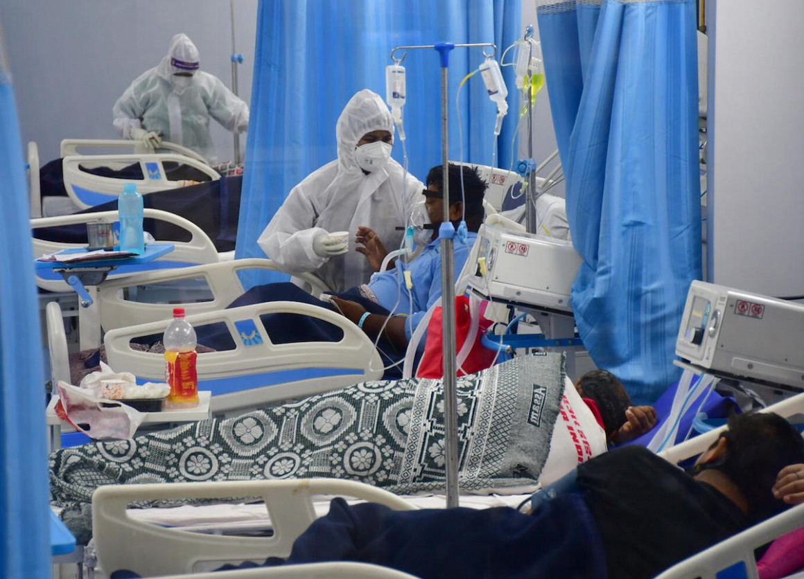 On May 6, 2021, patients receive treatment in the ICU ward at Mulund Jumbo's COVID-19 center in Mumbai, India.