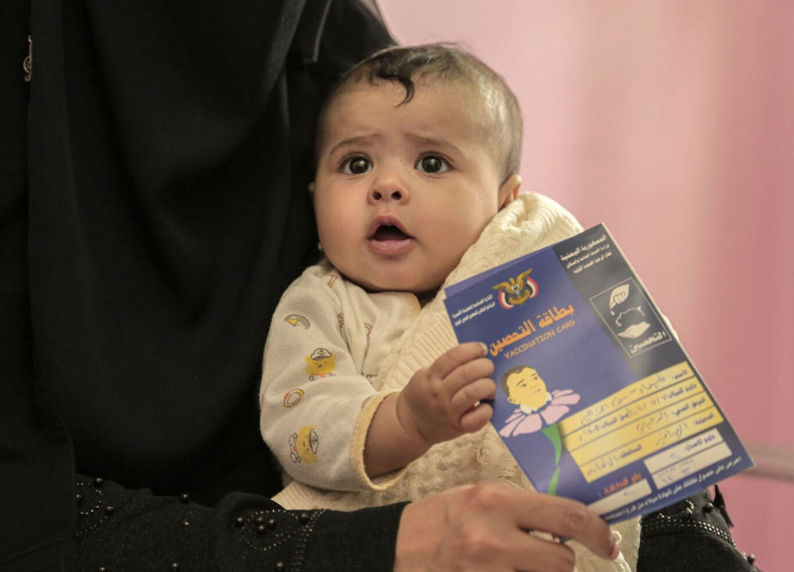 On April 29, 2021, 9-month-old Shaima receives her routine vaccinations at a UNICEF-supported health center in Sana'a, Yemen.