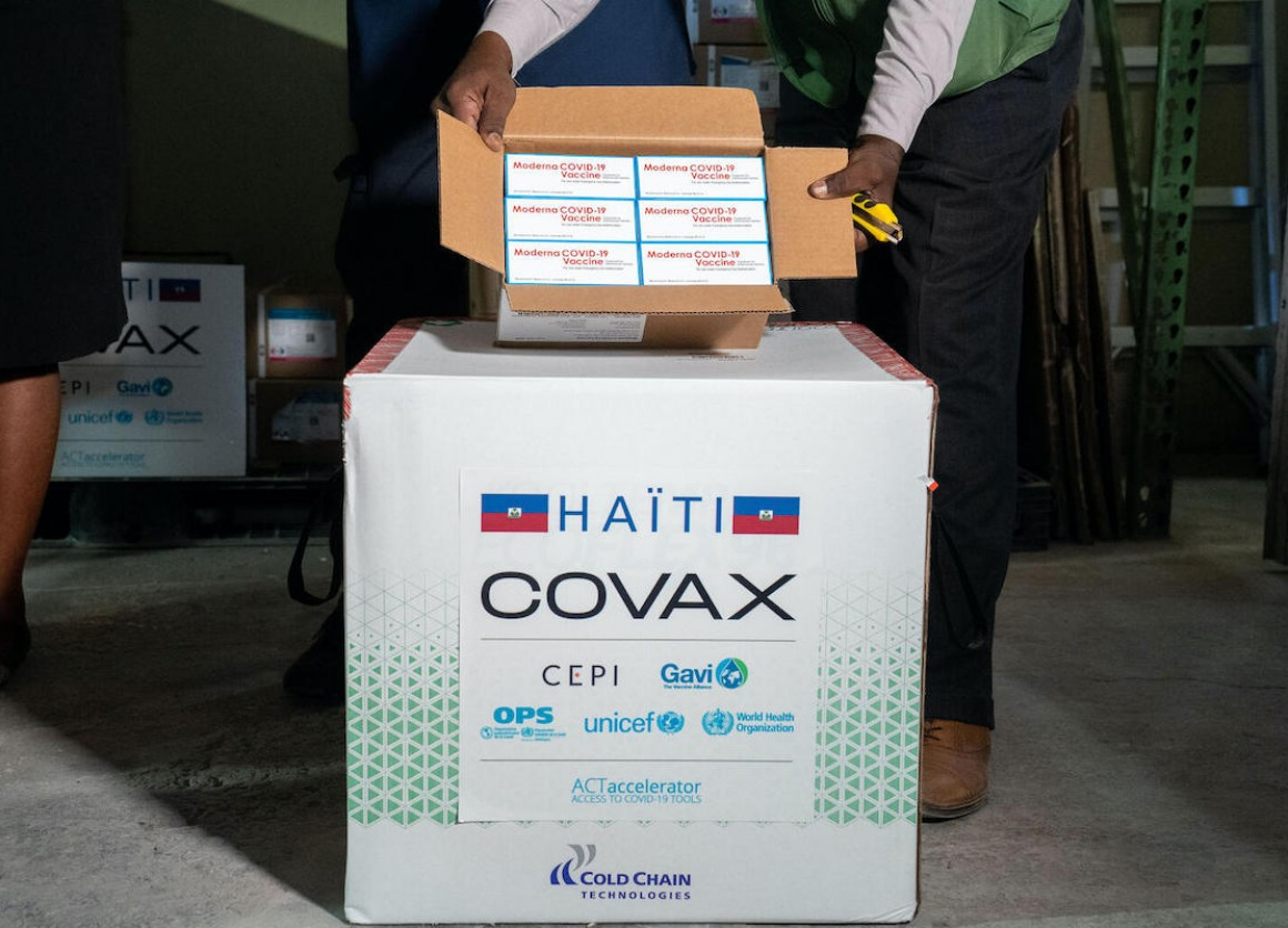 COVID-19 vaccine doses, donated by the U.S. government as part of the COVAX dose-sharing program, arrive in Port-au-Prince on July 13, 2021.