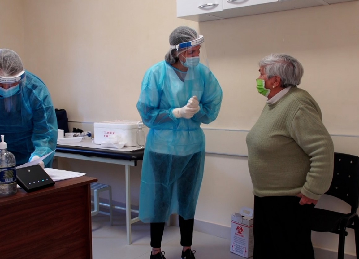 Great-great-grandmother Francisca Ohaco Magallanes received her first dose of COVID-19 vaccine in Villa Soriano, Uruguay in April, 2021.