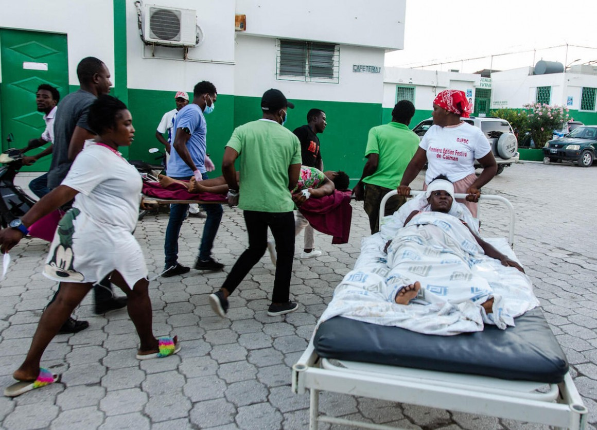 Patients are transported for care at Immaculate Conception Hospital in Les Cayes, Haiti on August 15, 2021, following the 7.2 earthquake that struck the region on August 14, 2021.