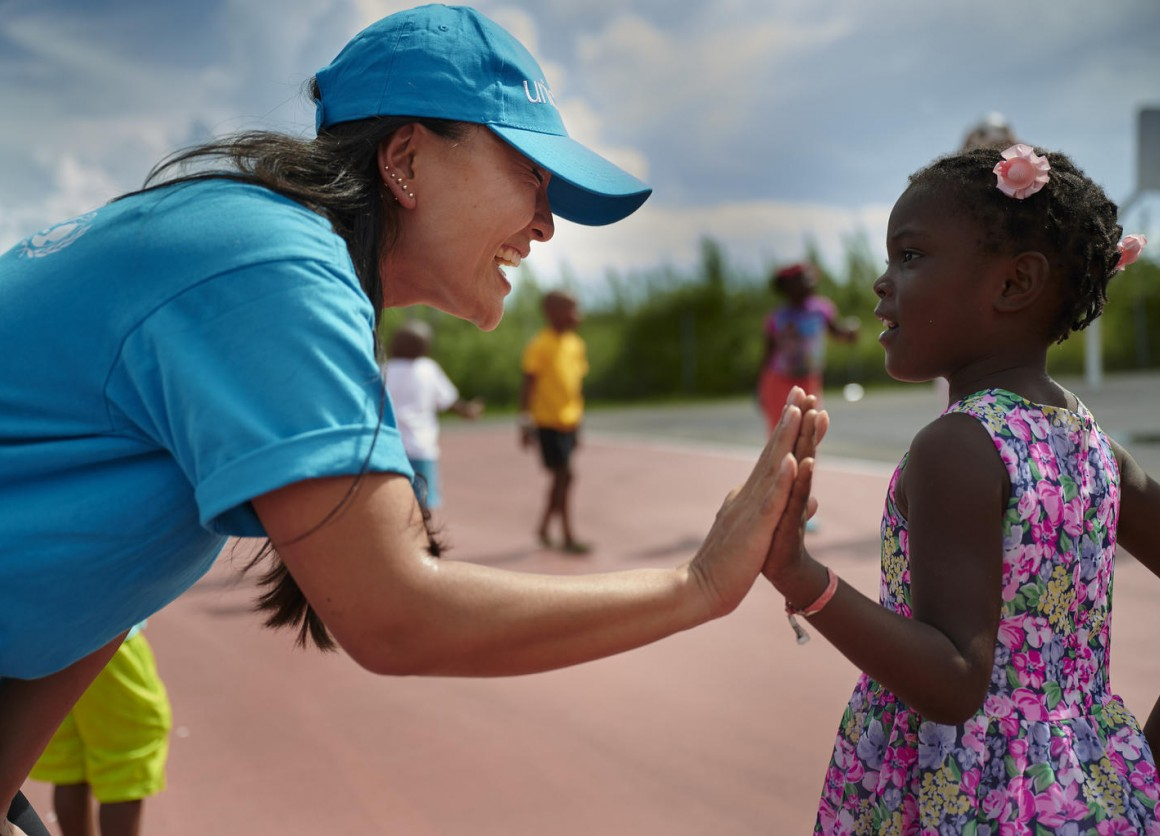 In September 2019 in the Bahamas, children who have been evacuated in the aftermath of Hurricane Dorian participate in activities organized by UNICEF's partner organization, IsraAid, in Nassau.