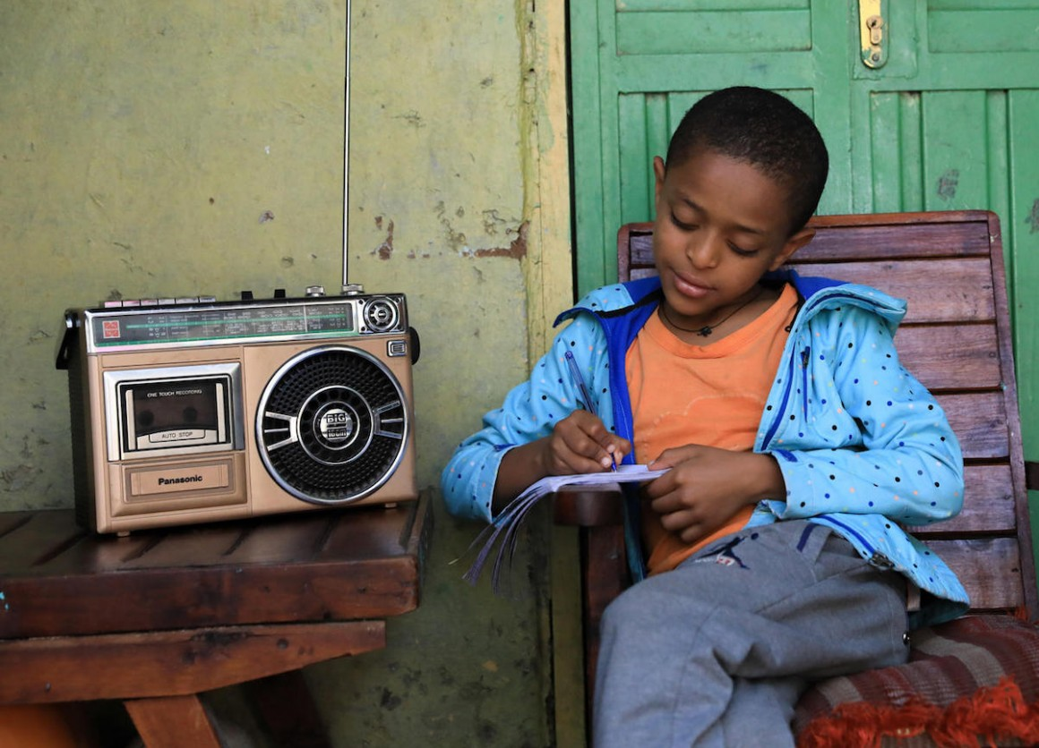In Ethiopia, Yedidiya attends school via radio classes as part of  a distance-learning program developed by the Ministry of Education with support from UNICEF.