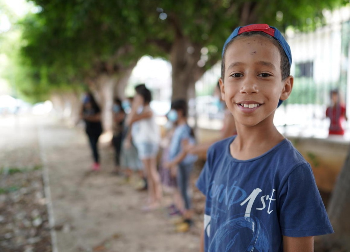 On September 1, 2020, 10-year-old Abdulkarim participates in psychosocial support activities, at UNICEF's Child-Friendly Space at the Karantina public garden in Beirut, Lebanon.