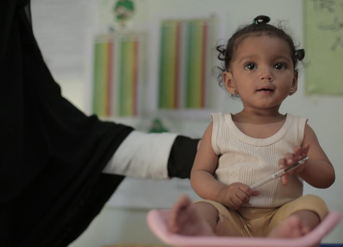 Nour Fatini, a 9-month-old, is treated for malnutrition at a UNICEF-supported health center in Sana'a, Yemen.