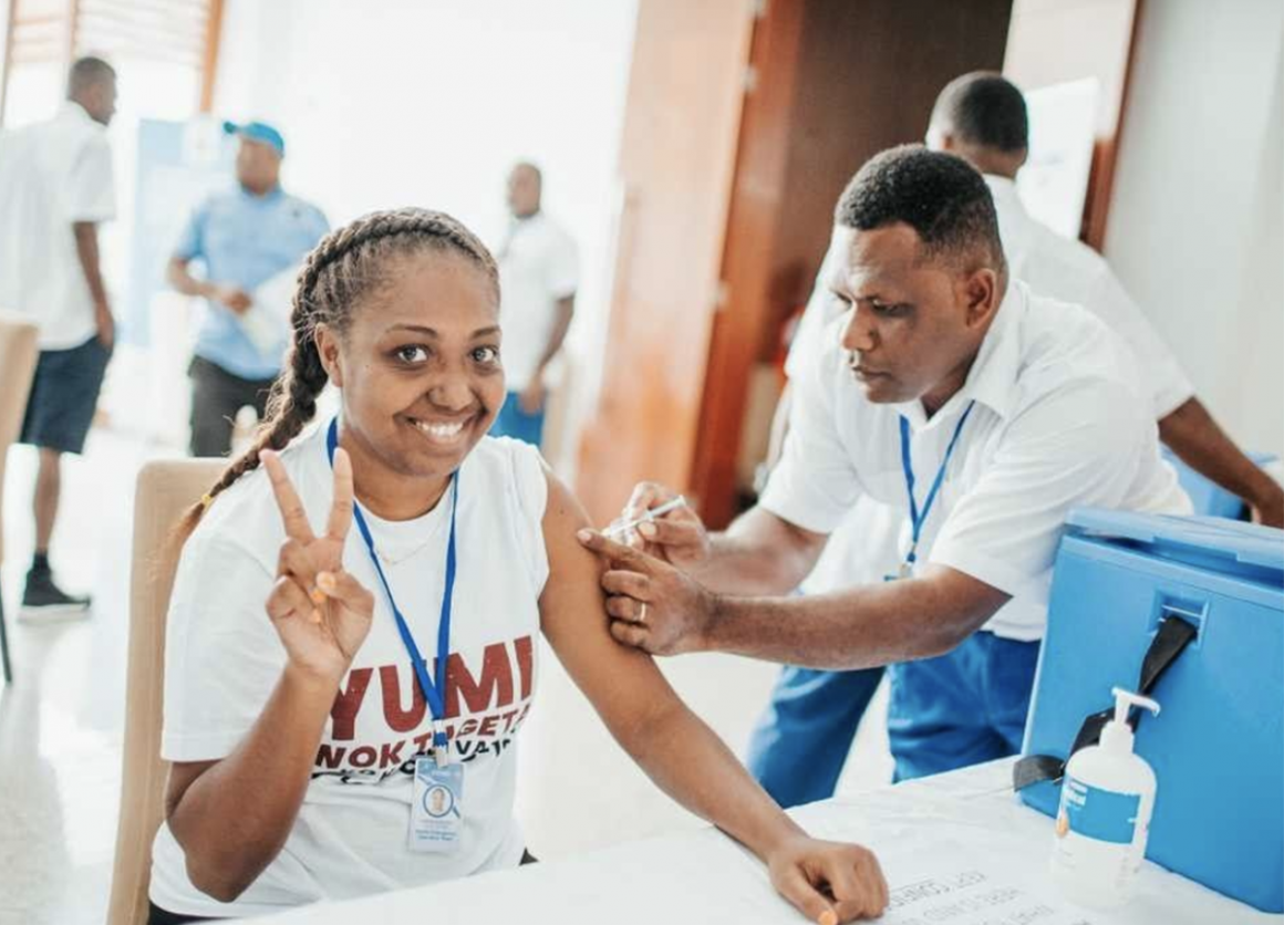 """""""As a frontline worker, it is paramount that we get vaccinated as we are most at risk of getting the virus. I am doing this to protect my family, my community, and Vanuatu,"""" says Joanne, Acting Surveillance Manager at Vanuatu's Ministry of Health."""