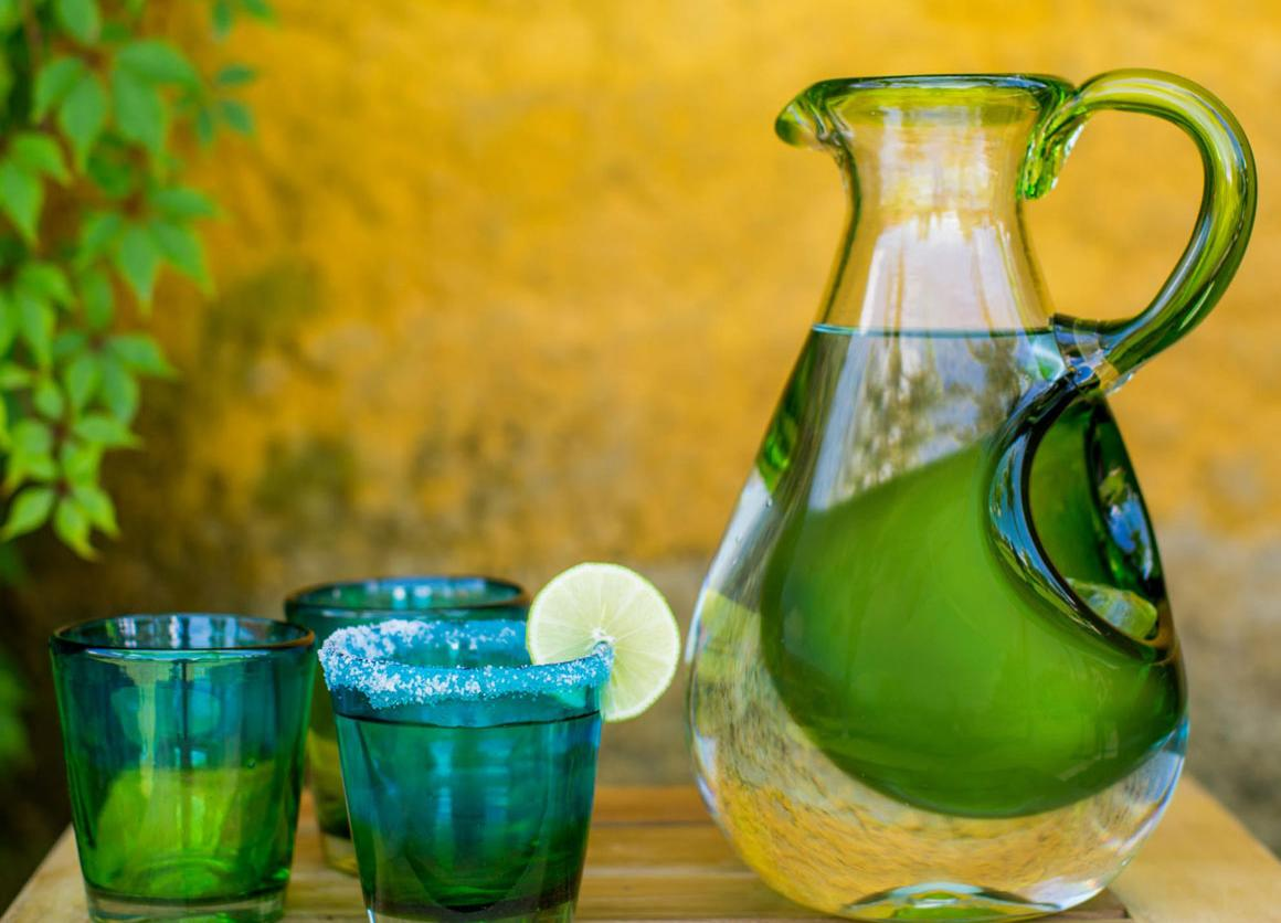 Hand Made Pitcher with Ice Chamber Blown Glass Art, 'Fresh Lemon'