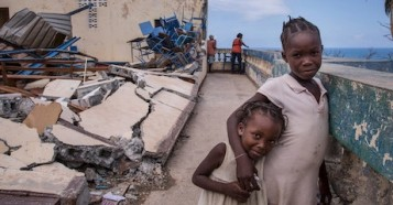 On 13 October 2016 in Jérémie, Haiti, children play at the Église Chrétienne Nan Lindy. Some 300 people have sought temporary shelter at the church.