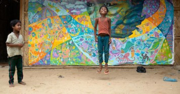 unicef, unicef usa, bangladesh, rohingya refugee children, art therapy, mural painting
