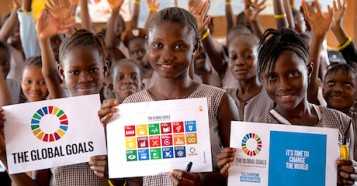 Students at a girls primary school in Sierra Leone's capital Freetown pictured after their lesson on the Sustainable Development Goals 2030.
