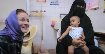 UNICEF Executive Director Henrietta H. Fore visits with children and families receiving UNICEF support in Yemen.
