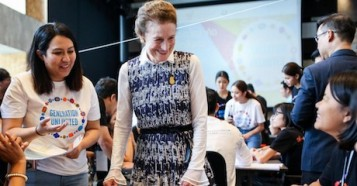 """In October 2018, UNICEF Executive Director Henrietta H. Fore met with participants of """"Generation Unlimited"""" boot camp at KMUTT Knowledge Exchange for Innovation in Bangkok, Thailand."""