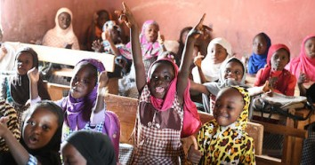 Students attending class in an Islamic school in Biankouma, a village in western Côte d'Ivoire.