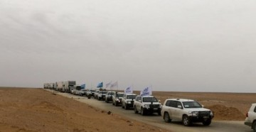 In February 2018, a humanitarian aid convoy reached displaced Syrians living in Rukban makeshift settlement near the border with Jordan.
