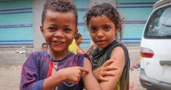 In February 2019, children in Aden, Yemen proudly show off the spots on their arms where they were vaccinated during a mobile measles and rubella vaccination campaign backed by UNICEF.