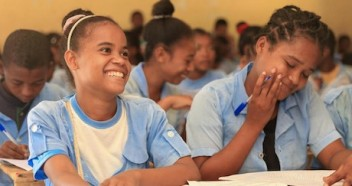 Students in Amboasary, Madagascar — including 15-year-old Soavazaha, left — participate in a life skills program supported by UNICEF's Let Us Learn initiative.