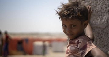 This boy lives in Al-Meshqafah camp for internally displaced people in Lahj governorate, southern Yemen, 2019.