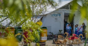 Students leave the UNICEF tent after class finishes at a kindergarten in Marawola subdistrict, Central Sulawesi, Indonesia on September 11, 2019.
