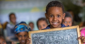 Abel, 6, loves going to his UNICEF-supported school and playing with his friends in Ethiopia.