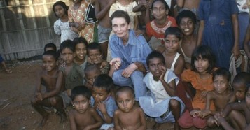 UNICEF Goodwill Ambassador Audrey Hepburn visited children at a school in Bangladesh in 1989.