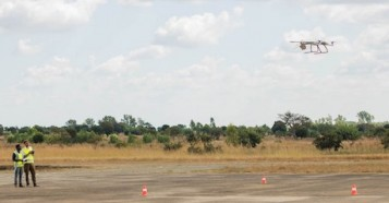 A UNICEF humanitarian drone takes off from the Kasungu airstrip in central Malawi in 2019.