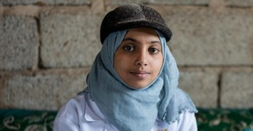 Nineteen-year-old Afrah is a UNICEF-supported community health worker in Sana'a, Yemen.