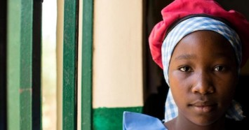 Displaced by armed conflict in northeast Nigeria, Julianna, 13, is one of three girls on the school-based management committee at the UNICEF-supported Kulmsulum School in Maiduguri, Borno State.