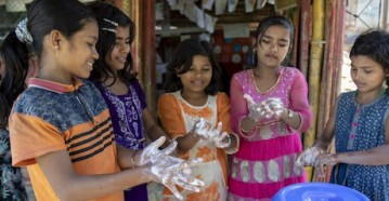On 9 March 2020, children wash their hands with soap at a UNICEF-supported learning centre in the Kutupalong camp, a Rohingya refugee camp, in Cox's Bazar, Bangladesh.