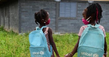 Girls on the playground of their school in Toumodi-Sakassou, in central Côte d'Ivoire in 2020.