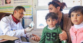 Dr. Marwan Alufersi, a pediatrician, does what he can for his young patients at the UNICEF-supported Alhatab Health Center, located in the Hamdan district of Yemen's Sana'a Governorate.