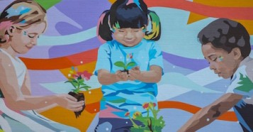 Painted by the artist DAAS in 2020, a mural in downtown Johnson City, Tenn., celebrates diversity, friendship and racial equality.
