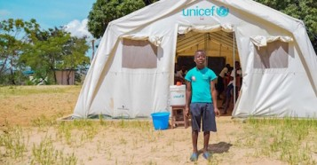 A young member of the Peace Club at Kibi Primary School in the village of Lumfukwe,Tanganyika Province, Democratic Republic of Congo.