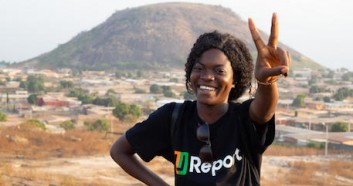 A UNICEF-supported U-Reporter in Korhogo, Côte d'Ivoire, where the social platform is used to encourage youth engagement. Côte d'Ivoire is the 35th country to join the U-Report movement.