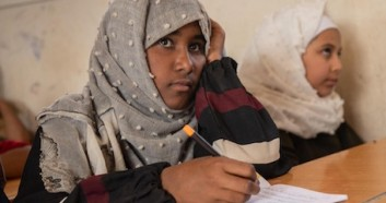 Thirteen-year-old Emtinan is back in the classroom at a UNICEF-supported school in Marib, Yemen, after missing a year of school.