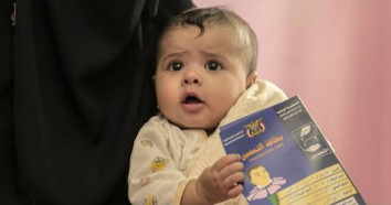 Nine-month-old Shaima receives her routine vaccinations at UNICEF-supported Al-Rahabi health center in Sana'a, Yemen.
