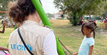 In September 2021. a UNICEF team in Cuidad Acuña, Coahuila state, Mexico evaluates the situation of Haitian children and families of Haitian origin who are migrating.