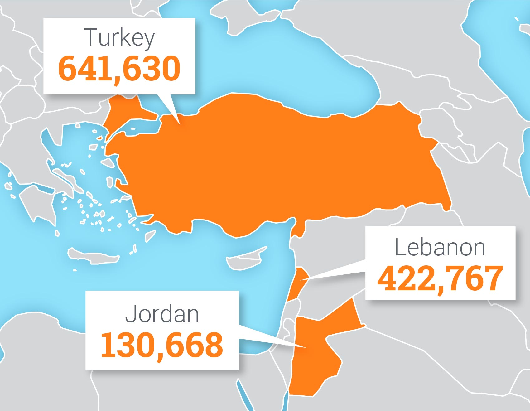 Map of refugee children helped by UNICEF in 2018